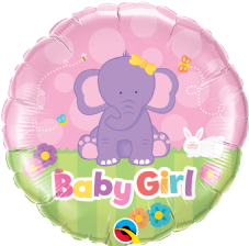 'Baby Girl' Elephant Foil Balloon